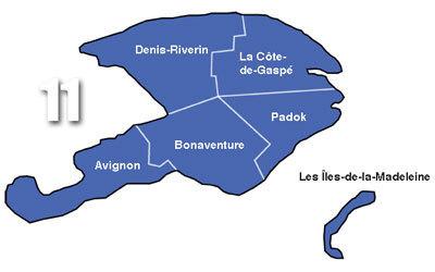 La Gaspésie–Îles-de-la-Madeleine est une région administrative du Québec, établie le 22 décembre 1987. Elle est composée de cinq municipalités régionales de comté dans la péninsule gaspésienne et de l'archipel des îles de la Madeleine. Source Wikipedia