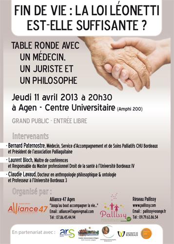 """Une table ronde sur la """"fin de vie"""" à Agen"""