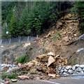 Eboulement de terrain le 3 mars 2007 sur une route menant au tunnel du Mont-Blanc, côté français