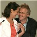 Le Vert Daniel Cohn-Bendit venu soutenir la candidate socialiste Ségolène Royal, le 24 avril 2007 à Montpellier