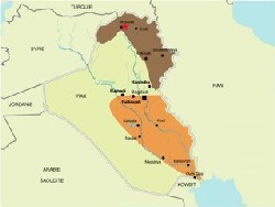 En brun, la région Kurde de l'Irak où ont eu lieu les attentats