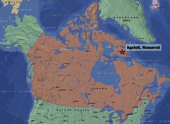 La région de l'exercice militaire canadien, près d'Iqaluit, dans les Northern Territories